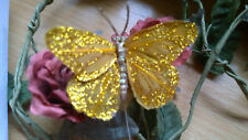 Dark Gold Feather Butterfly with Glitter - 7.0cm wingspan