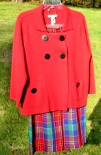 Vintage Mix Match Outfit Red Sweater Top Red Blue Yellow Plaid Skirt Size 8