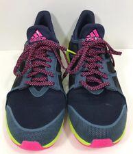 Adidas Bounce Running Shoes Blue Neon Green Pink Womens 9.5