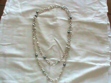 HEAVY Sterling Silver Necklace 60 INCH 10mm White Black Silver Pearls 130 Gram !