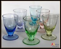 Mid Century Multi Color Shot Cordial Glasses - Set of 6 Pink Green Blue Purple