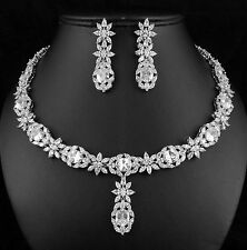 Victorian CZ Cubic Zirconia Crystal Necklace Earrings Set Wedding Party CZ897