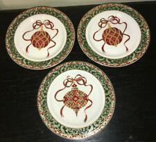 "(3) American Atelier CHRISTMAS ORNAMENTS Porcelain 8 1/4"" Salad Plates"