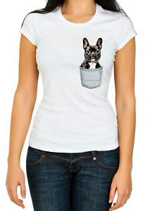 French bulldog pocket Black / Cream funny 3/4 Short sleeve Woman T Shirt