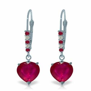 Natural Red Ruby Heart Gems & Diamonds Dangles Leverback Earrings 14K Solid Gold