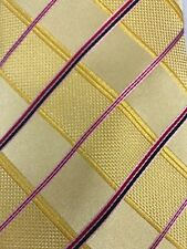 "NWOT Paul Malone Red Line 100% silk tie Thick Woven Yellow & Red 59 x 4"" Striped"