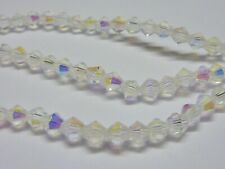 120 pce Clear AB Faceted Bicone Crystal Glass Beads 4mm Jewellery Making Craft