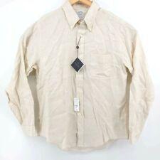 BROOKS BROTHERS Men's 100% Irish Linen Tan/Beige Long Sleeve Shirt, Size Large L