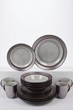 16-Piece Silver/Brown Metallic and Crackle Glaze Dinner Set …