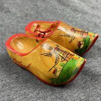 "Vintage Holland Wooden Clogs Shoes 4""x1.5""Windmills Souvenir Decorative Red"