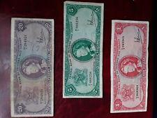 Trinidad & Tobago 1964 set of 3 notes,1,5,20 dollars
