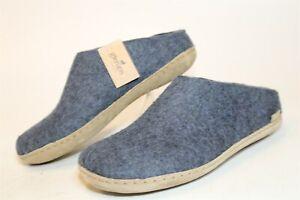 Glerups NEW Womens 39 8 Blue Wool Felt Mules Clogs Slippers House Shoes