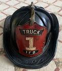 Vintage Antique Firemans Fire Fighter Leather Hat Helmet Of IFD