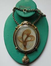 Victorian Hair Work Mourning Pendant, Mother-of-Pearl, Pinchbeck & Chain, 1860s