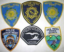 (6) Unused Private Security and Police Embroidered Patches