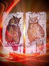Holz Schilder 1 Eule + 1 Uhu Holzschilder Geschenke Nostalgie Wanddeko Tafeln
