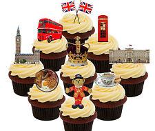 London / England 36 Edible Cupcake toppers  - Standup Fairy Cake Bun Decorations