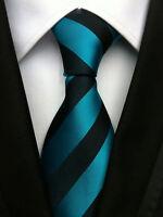 Classic Men's Black Stripe JACQUARD WOVEN Neck Ties Wedding Party gift