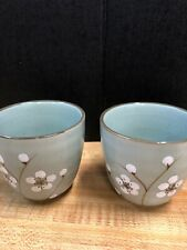 Set Of 2 Japanese Tea Sake Cups With Cherry Blooming Pattern Made In China