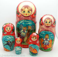 Thumbelina Russian Hand Carved Hand Painted Nesting Doll set FAIRY TALE Andersen