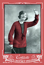 Corticelli #11 c.1919 Rare Vintage Book of Crochet Sweater & Purse Patterns