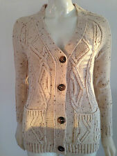 New Ladies Chunky Aran Knit Cable Cardigan Vintage Retro Button Grandad 8 - 20