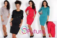 Women's Stylish & Elegance Dress Tunic Style 3/4 Sleeve Size 8-16 FK1192