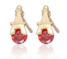 18 k Gold Plated Stud Earrings for Small Girls or Women Red Eiffel Tower E728