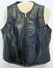 Wilsons Black Leather Fitted Vest Top Womens Large