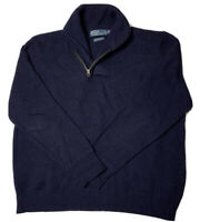 Men's 3 Ply 100% Wool Ralph Lauren 1/4 Zip Cowl Neck Sweater XXL Navy Blue