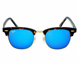 Ray Ban Clubmaster RB3016 1145/17 Havana Wayfarer Blue Mirrored Sunglasses 51mm