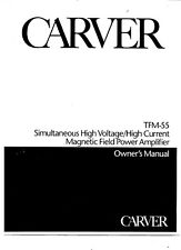 Carver TFM-55 Amplifier Owners Manual