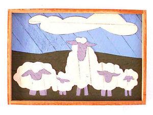 Counting Sheep Vintage Childrens Artwork Kids Room Baby Room Animal Folk Art