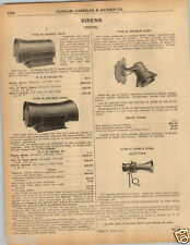 1925 PAPER AD Federal Siren Type B A Double Head Benjamin Fire Alarm Horn