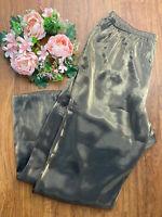 Vintage Womens Wet Look Gold Metallic Pants Shiny Foil Disco Party Pants Sz 22