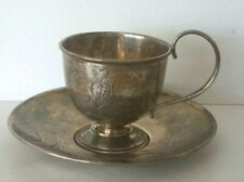 ORIGINALSET CUP SAUCER SILVER 84 RUSSIAN IMPERIAL ANTIQUE ENGRAVING XIX CENTURY