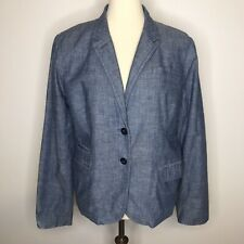 J CREW Womens 16 Schoolboy Blazer Jacket Chambray Blue 100% Cotton Roll Cuff