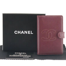 Auth CHANEL CC LOGO Cavier Skin Agenda Day Planner Case Bordeaux Leather #f46807