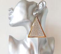 Gorgeous 7.5cm long gold tone & clear diamante triangle shape drop earrings