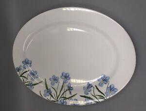 """New! Martha Stewart Blue Floral Porcelain Large Serving Platter 17"""""""