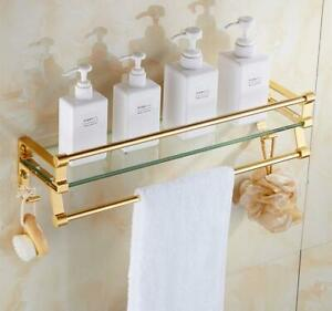 Wall-mounted Glass Bathroom Storage Shelf Towel Rack Space Aluminum Gold &Silver