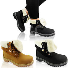 WOMENS FUR LINED LACE UP LOW HEEL WALKING WORK WINTER ANKLE BOOTS SHOE SIZE