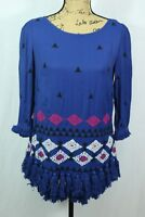 Anthropologie Floreat Mini Dress Size 6 Embroidered Tassels 3/4 Sleeve Tunic