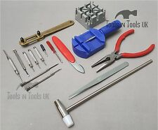 Economy 16 Piece Watch Repair Kit Set & Wrist Strap Adjust Pin Tool Back Remover