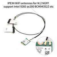 2IPEX MHF4 Card WiFi Wireless Internal Antenna for M.2 NGFF 9260 AX200 BCM94352Z