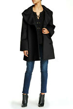 Cinzia Rocca Icons Wool Coat With Shawl Collar Black Size 10 (12) Made In Italy