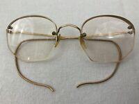 Vintage Wire Rim Half Octagon Glasses Eyeglasses 1/10 12K Gold Filled w/ Case