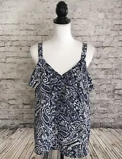 Ann Taylor LOFT Size M Ruffle Front Sleeveless Top Blouse Paisley Blue White