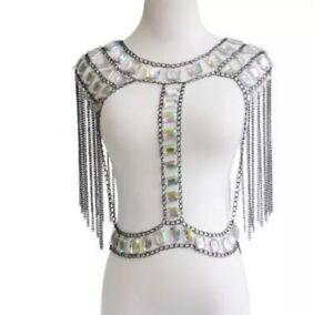 Boho Shoulder Rhinestone Statement Tassel Body Chain Jewellery