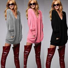 NEU Damen Longshirt Bluse Pullover Langarm Top Casual T Shirt Oversize Hemd